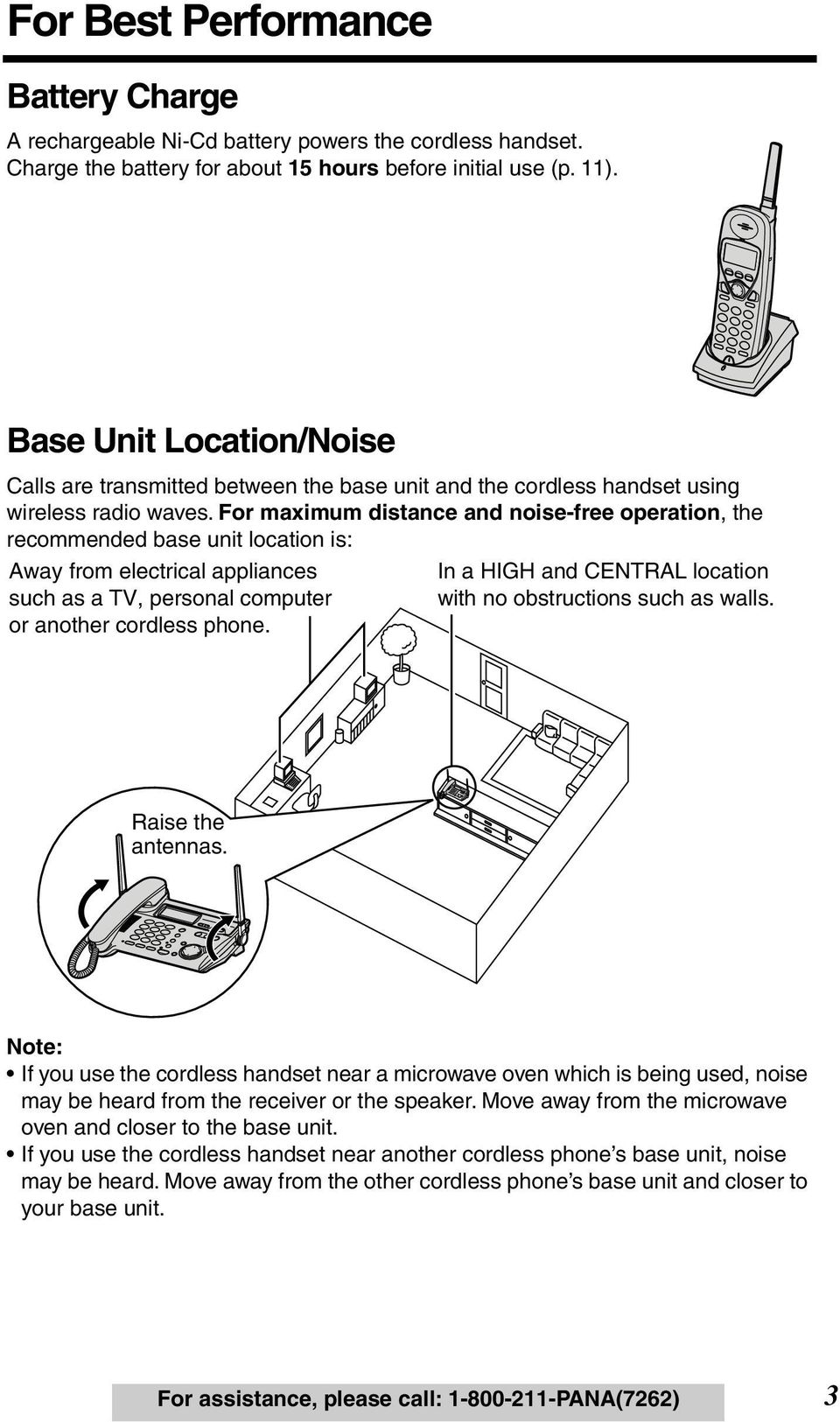 For maximum distance and noise-free operation, the recommended base unit location is: Away from electrical appliances such as a TV, personal computer or another cordless phone.