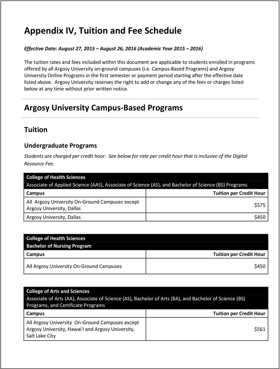 Argosy University reserves the right to add or change any of the fees or charges listed below at any time without prior written notice.