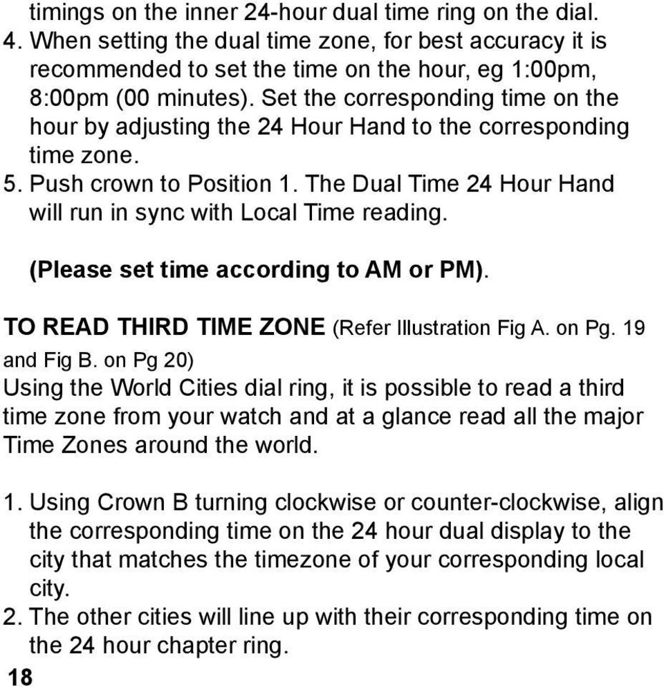 (Please set time according to AM or PM). TO READ THIRD TIME ZONE (Refer Illustration Fig A. on Pg. 19 and Fig B.