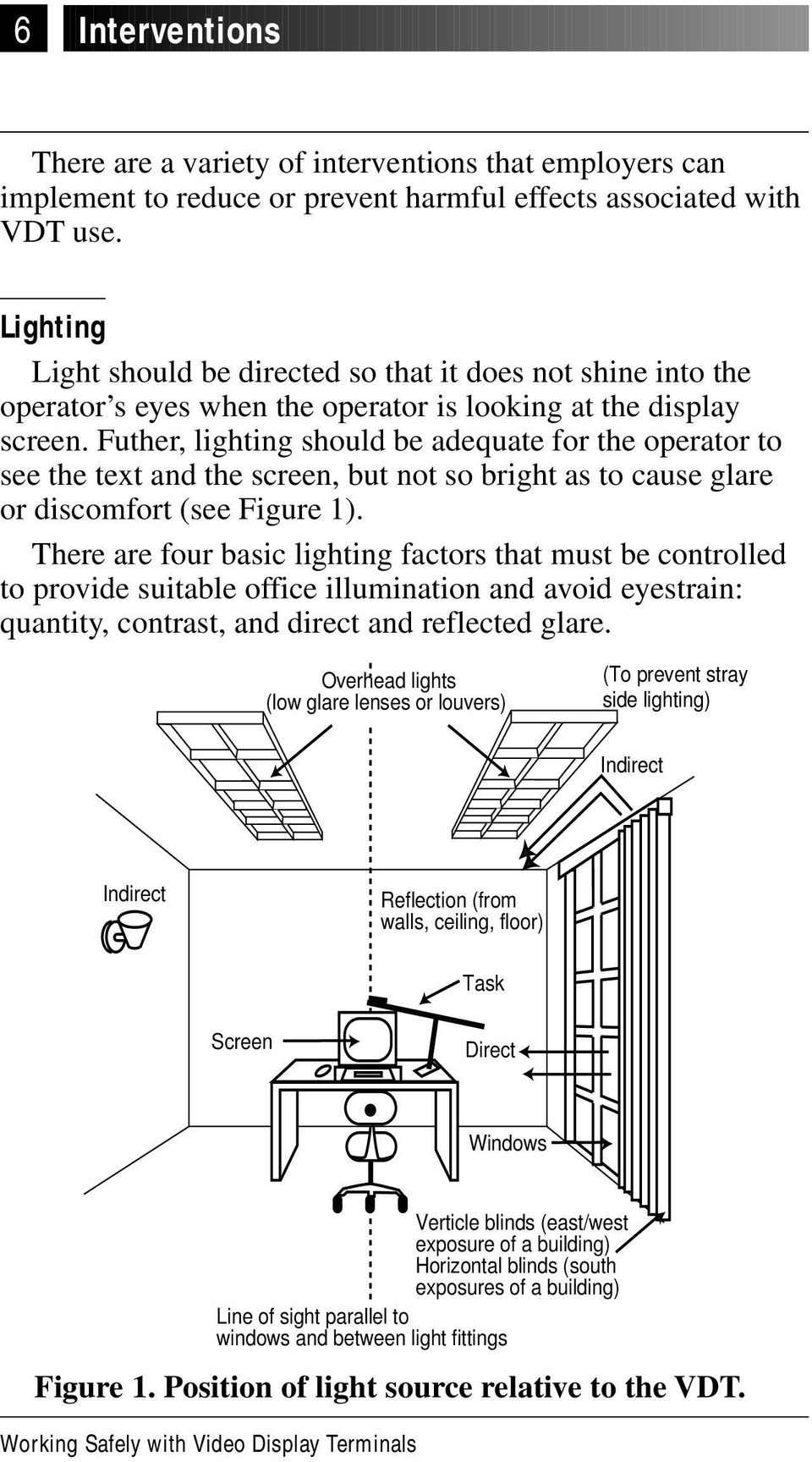 Futher, lighting should be adequate for the operator to see the text and the screen, but not so bright as to cause glare or discomfort (see Figure 1).