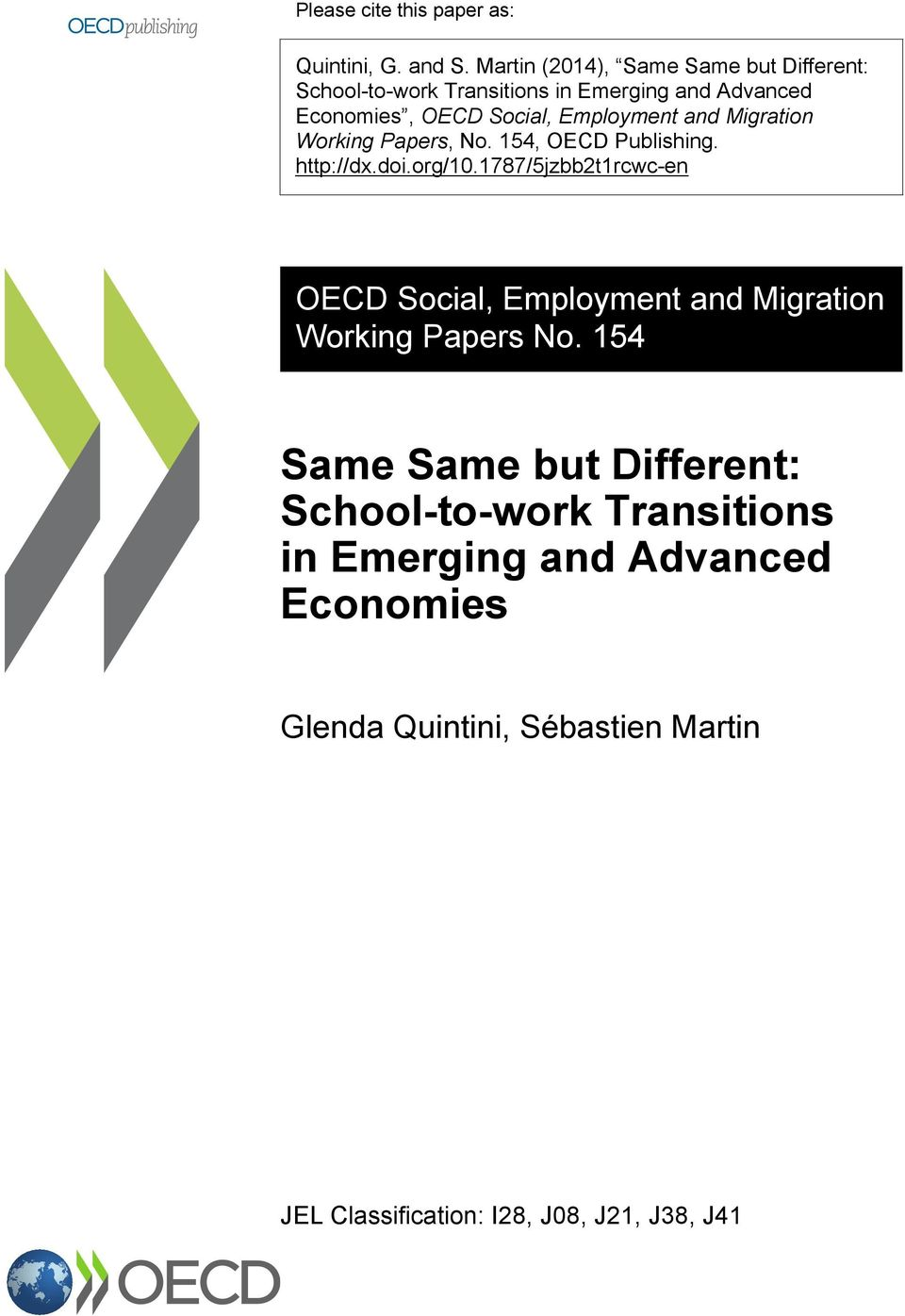 Employment and Migration Working Papers, No. 154, OECD Publishing. http://dx.doi.org/10.