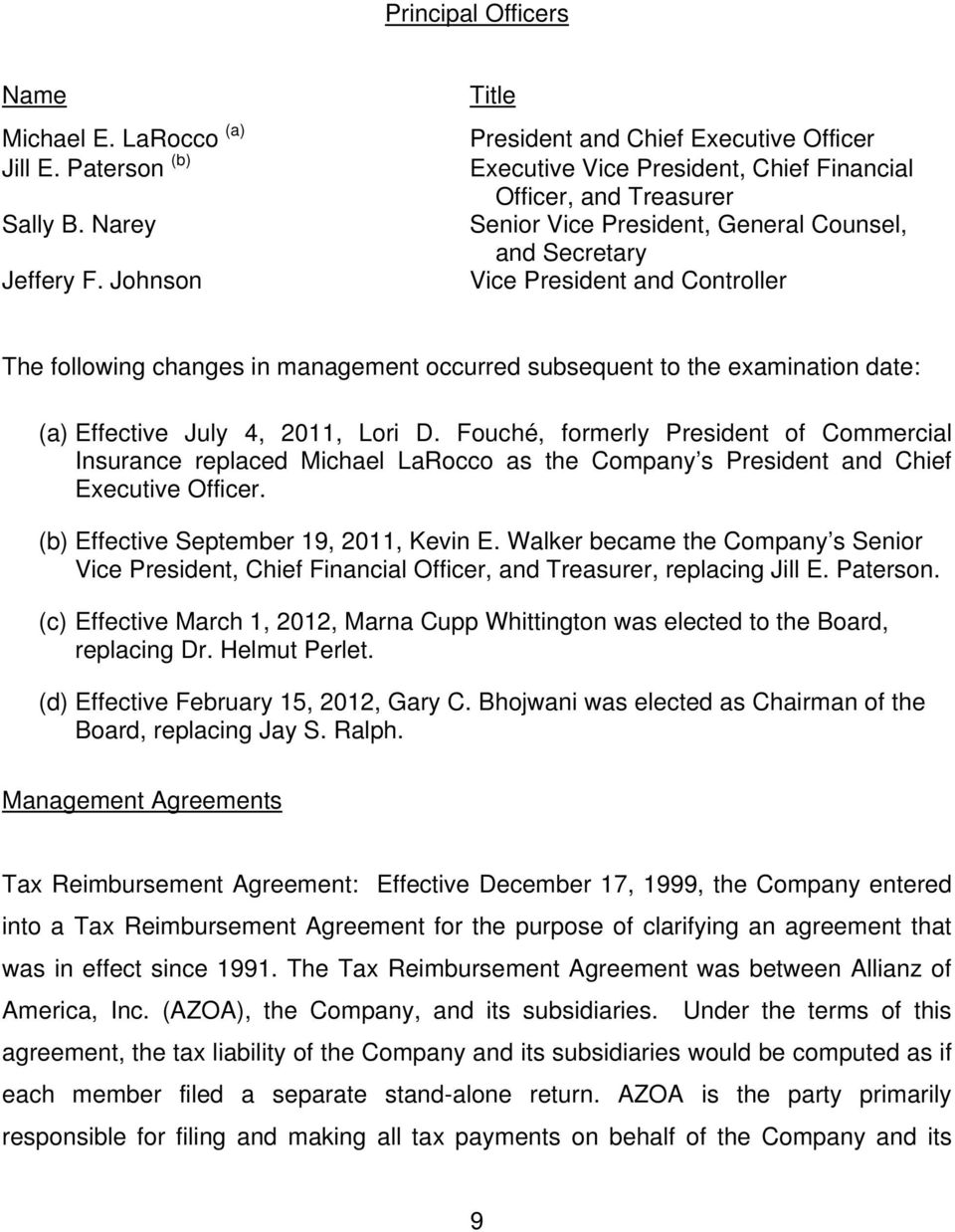 Controller The following changes in management occurred subsequent to the examination date: (a) Effective July 4, 2011, Lori D.