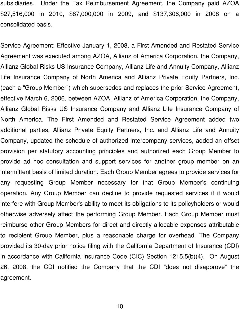 Company, Allianz Life and Annuity Company, Allianz Life Insurance Company of North America and Allianz Private Equity Partners, Inc.