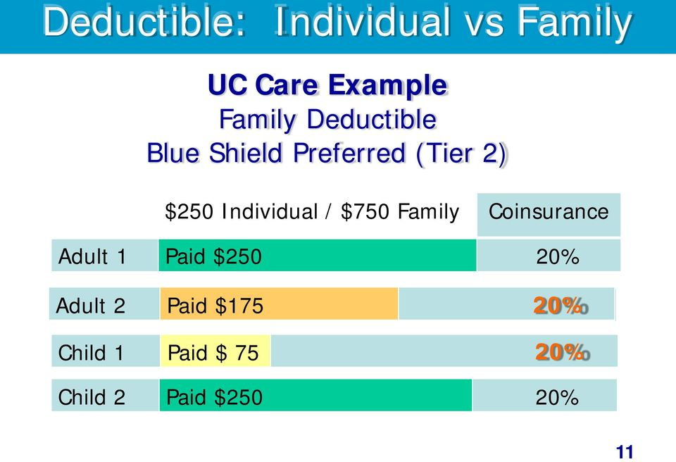 / $750 Family Coinsurance Adult 1 Paid $250 20% Adult 2