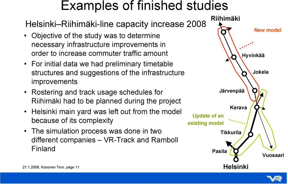 schedules for Riihimäki had to be planned during the project Helsinki main yard was left out from the model because of its complexity The simulation process was done in two