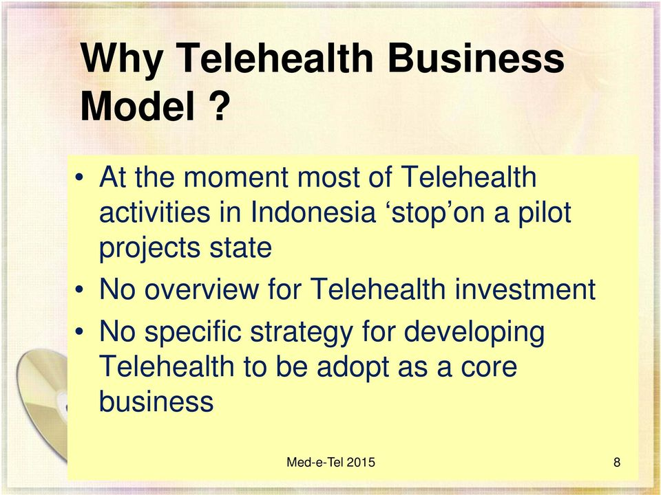 on a pilot projects state No overview for Telehealth
