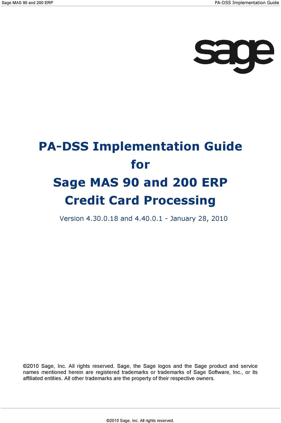 ERP Credit Card Processing Version 4.30.