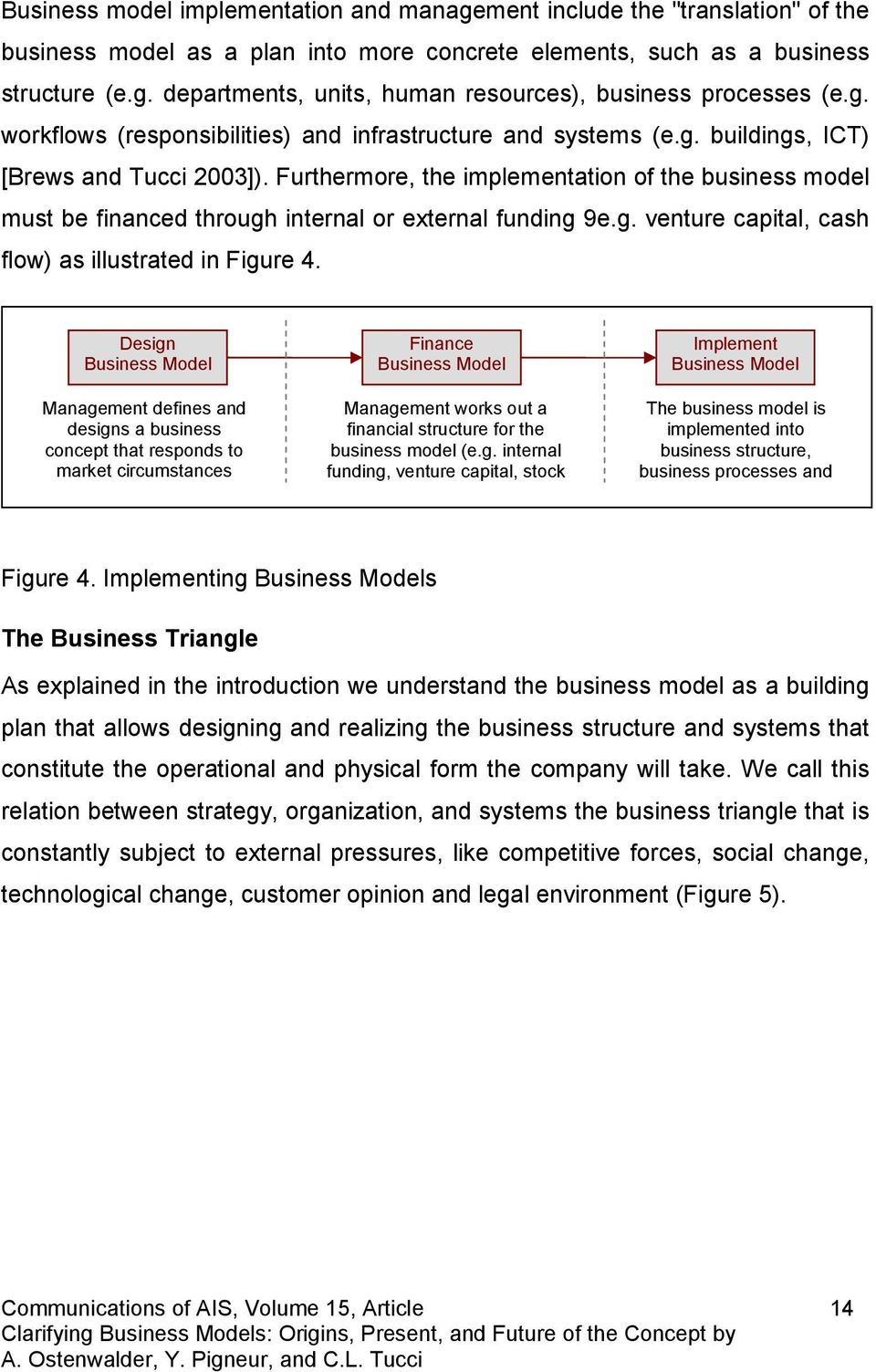 Furthermore, the implementation of the business model must be financed through internal or external funding 9e.g. venture capital, cash flow) as illustrated in Figure 4.