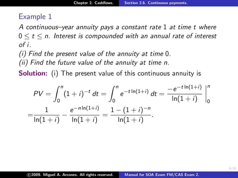 (ii) Find the future value of the annuity at time n.