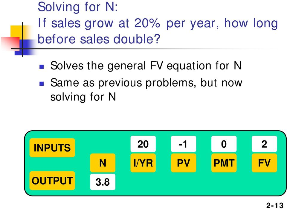 Solves the general FV equation for N Same as