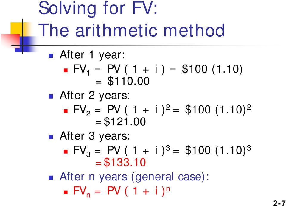 00 After 2 years: FV 2 = PV ( 1 + i ) 2 = $100 (1.10) 2 =$121.