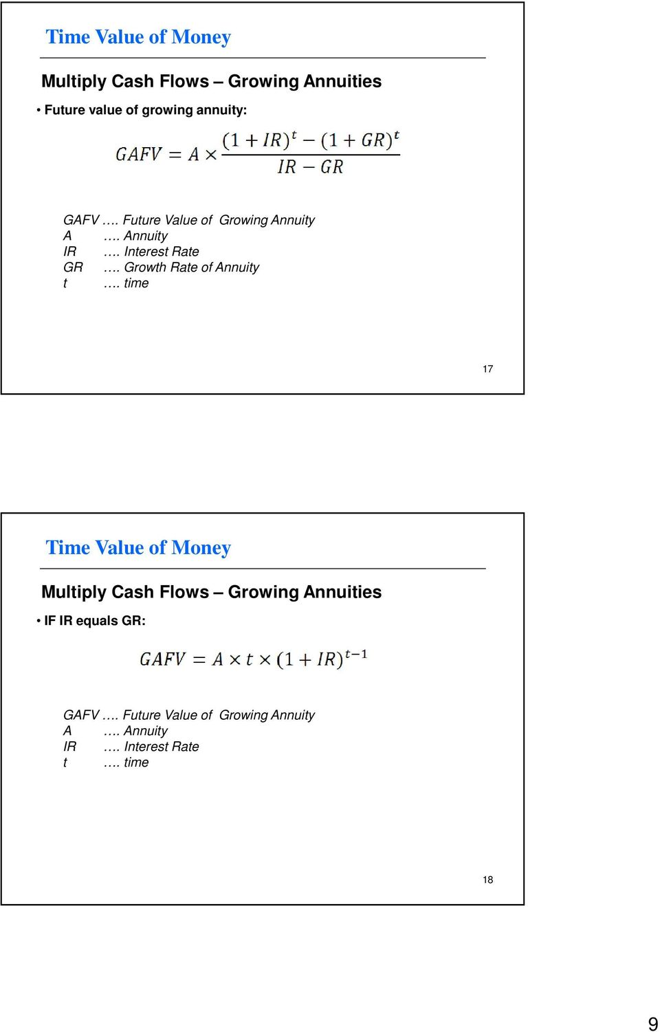 Growth Rate of Annuity 17 Multiply Cash Flows Growing Annuities