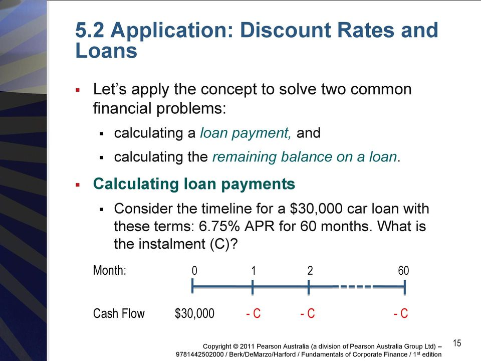 loan. Calculating loan payments Consider the timeline for a $30,000 car loan with these