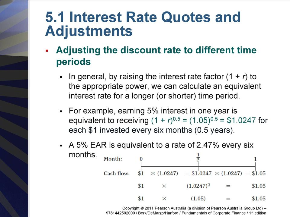 (or shorter) time period. For example, earning 5% interest in one year is equivalent to receiving (1 + r) 0.5 = (1.
