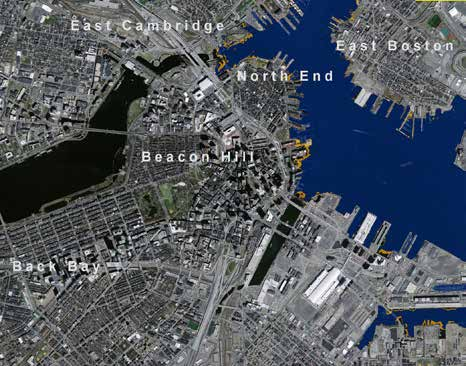 Opposite page Interwoven Canal and Street System. Image credit: Arlen Stawasz Above (left) Boston with a rising sea level of 2.5'.