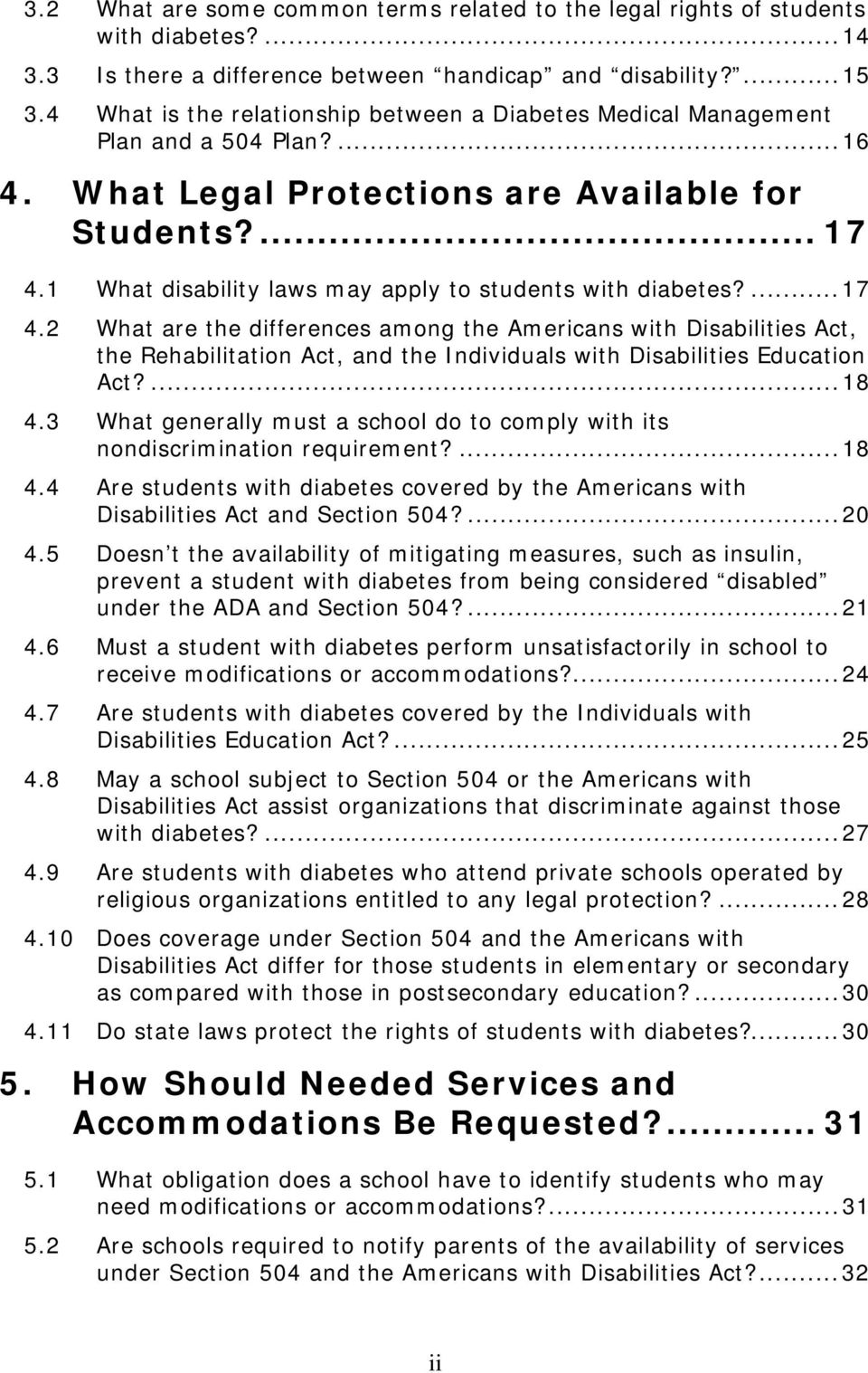 1 What disability laws may apply to students with diabetes?...17 4.