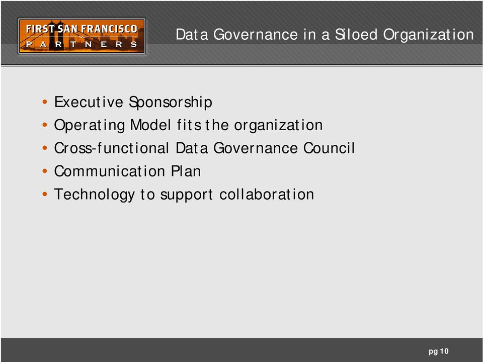 Cross-functional Data Governance Council