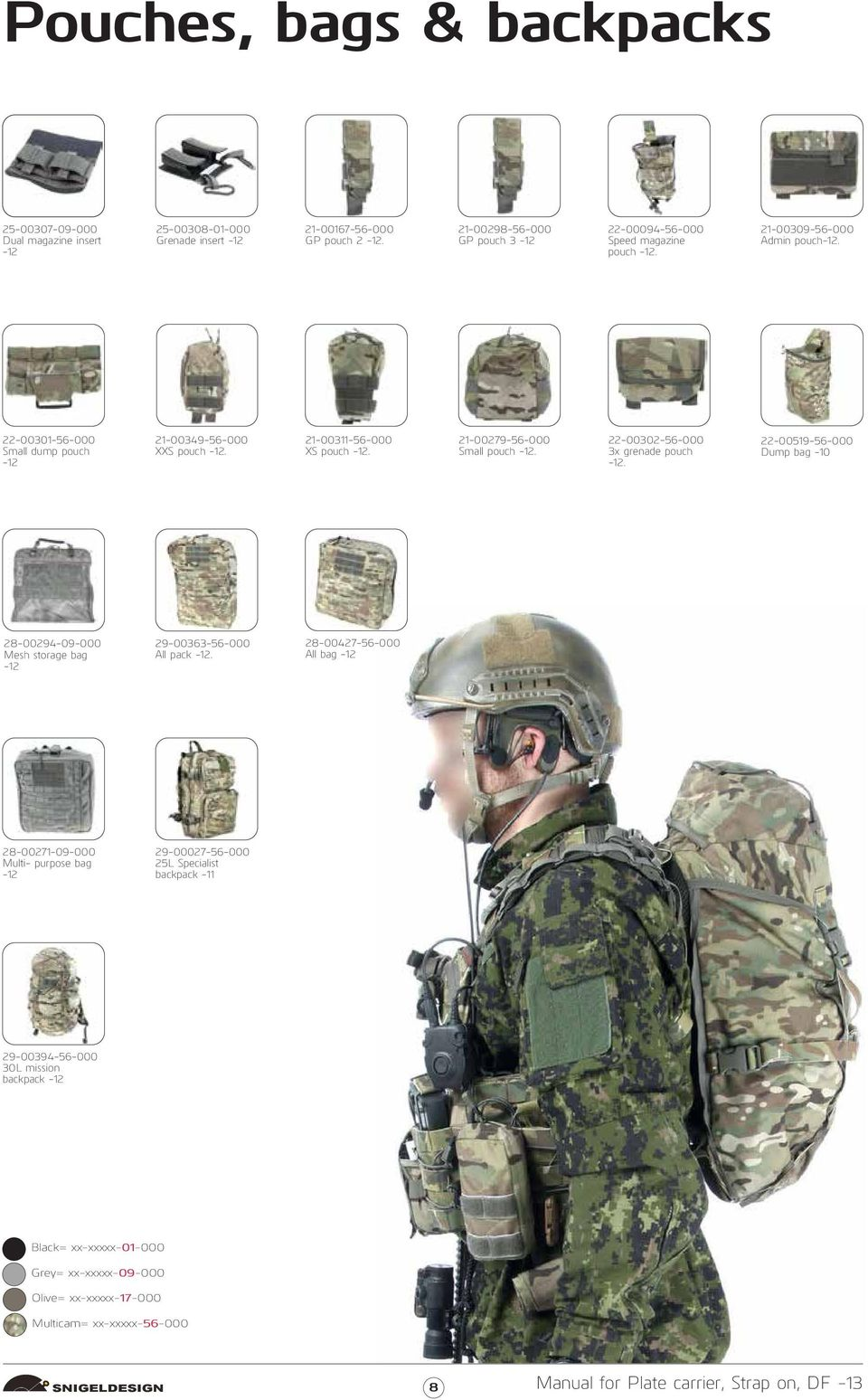 21-00279-56-000 Small pouch. 22-00302-56-000 3x grenade pouch. 22-00519-56-000 Dump bag -10 28-00294-09-000 Mesh storage bag 29-00363-56-000 All pack.