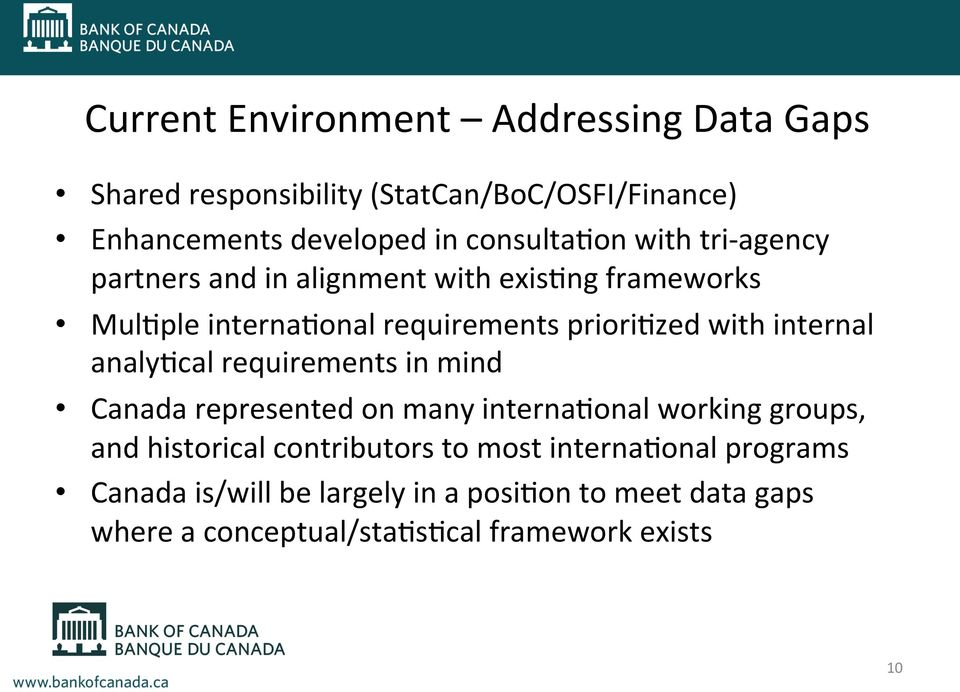 with internal analy/cal requirements in mind Canada represented on many interna/onal working groups, and historical
