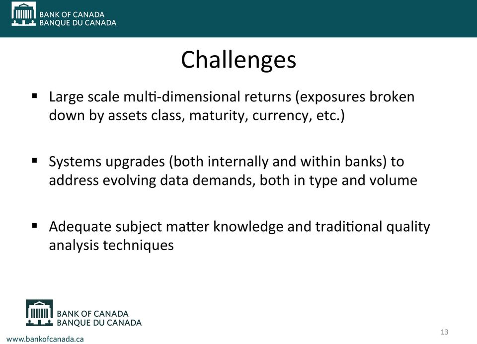 ) Systems upgrades (both internally and within banks) to address evolving