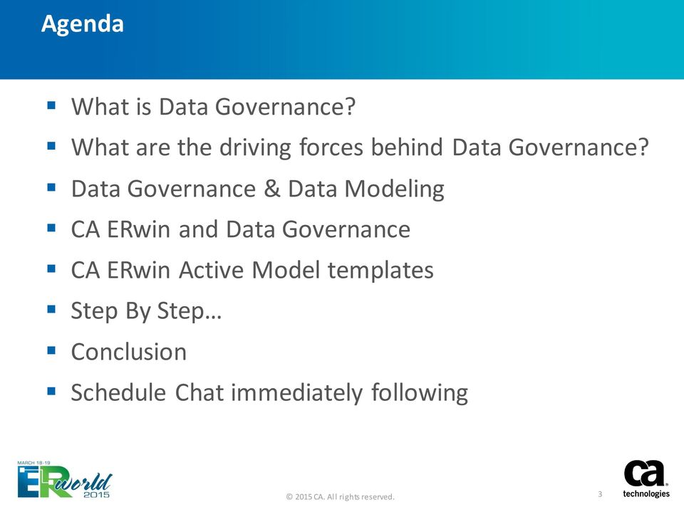 Data Governance & Data Modeling CA ERwin and Data