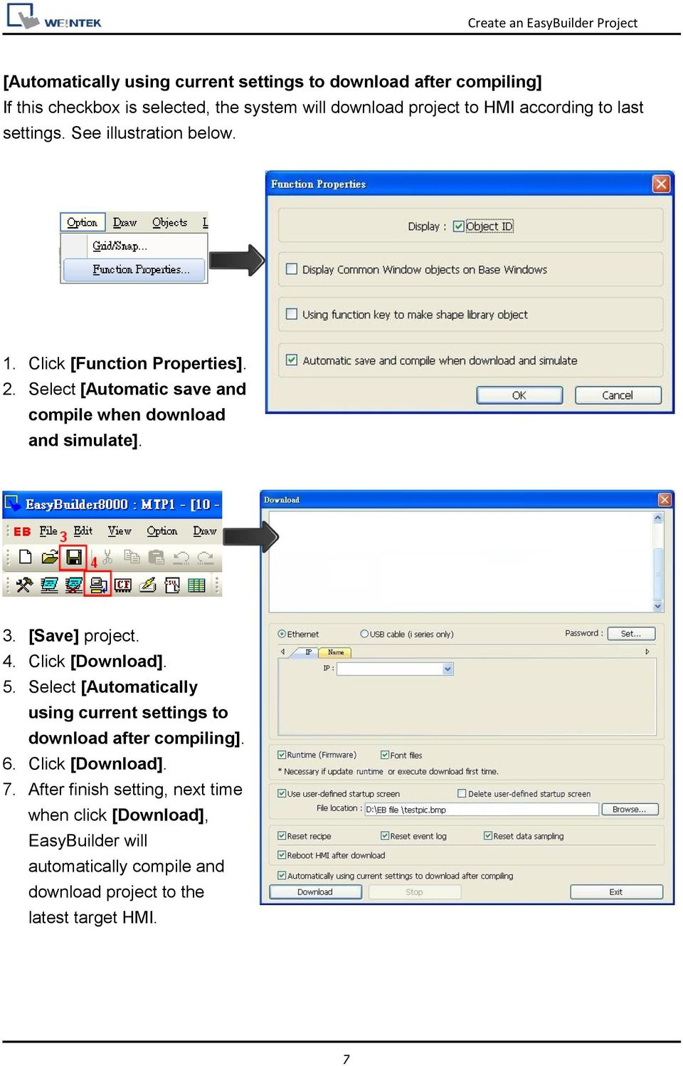 Select [Automatic save and compile when download and simulate]. 3. [Save] project. 4. Click [Download]. 5.