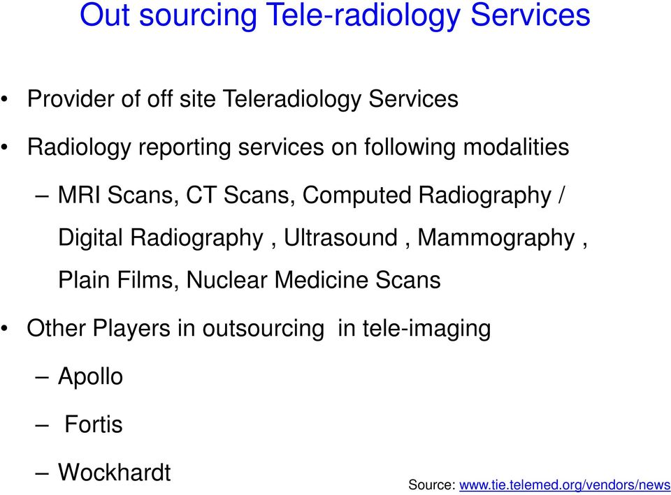 Digital Radiography, Ultrasound, Mammography, Plain Films, Nuclear Medicine Scans Other