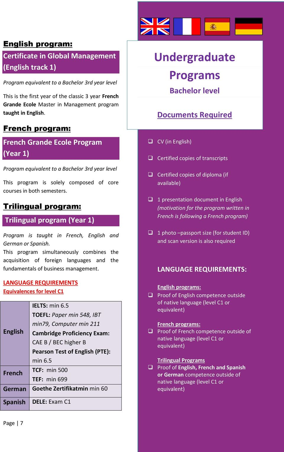 semesters. Trilingual program: Trilingual program (Year 1) is taught in French, English and German or Spanish.