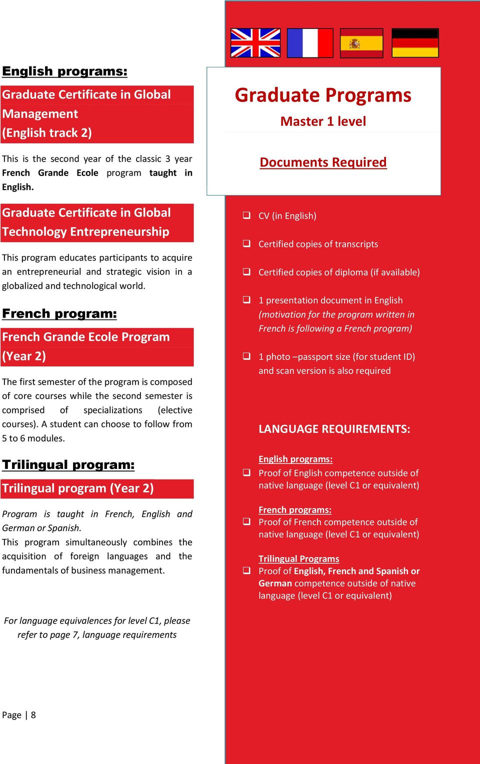 French program: French Grande Ecole (Year 2) The first semester of the program is composed of core courses while the second semester is comprised of specializations (elective courses).