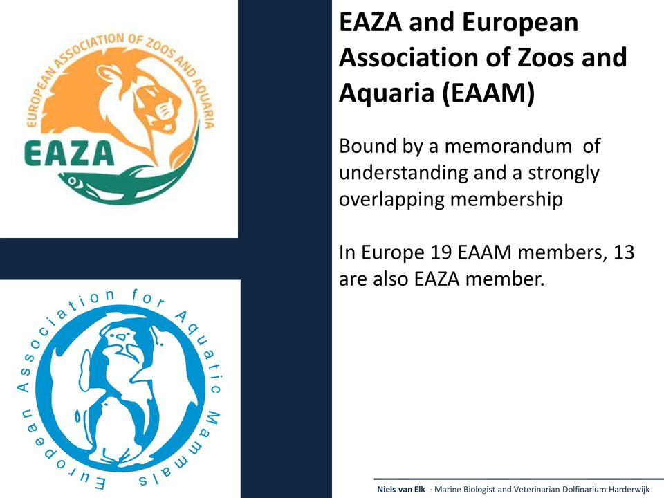 membership In Europe 19 EAAM members, 13 are also EAZA member.