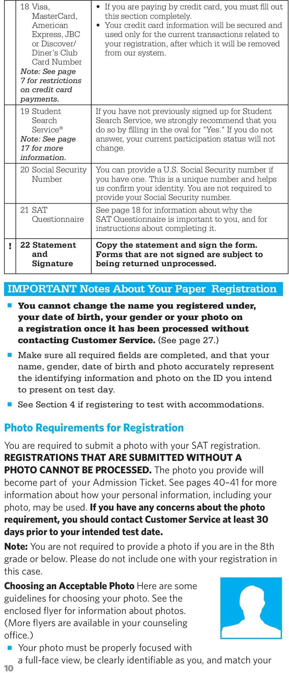 22 Statement and Signature If you are paying by credit card, you must fill out this section completely.