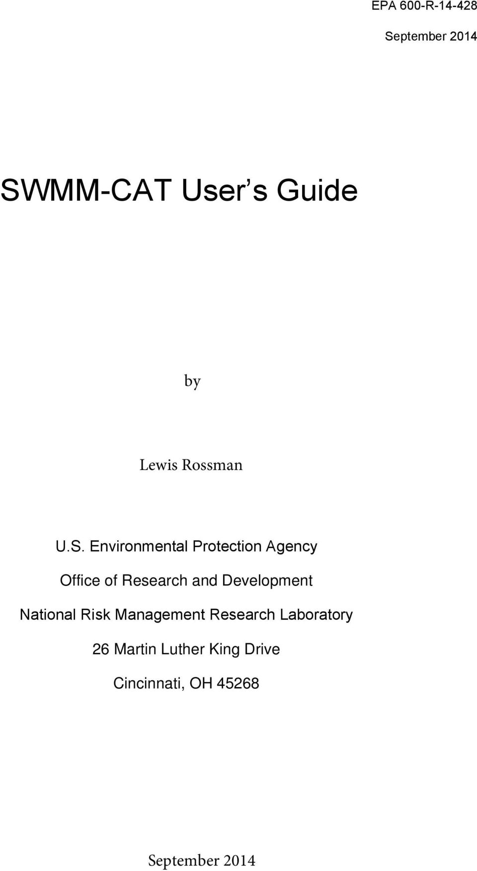 Environmental Protection Agency Office of Research and