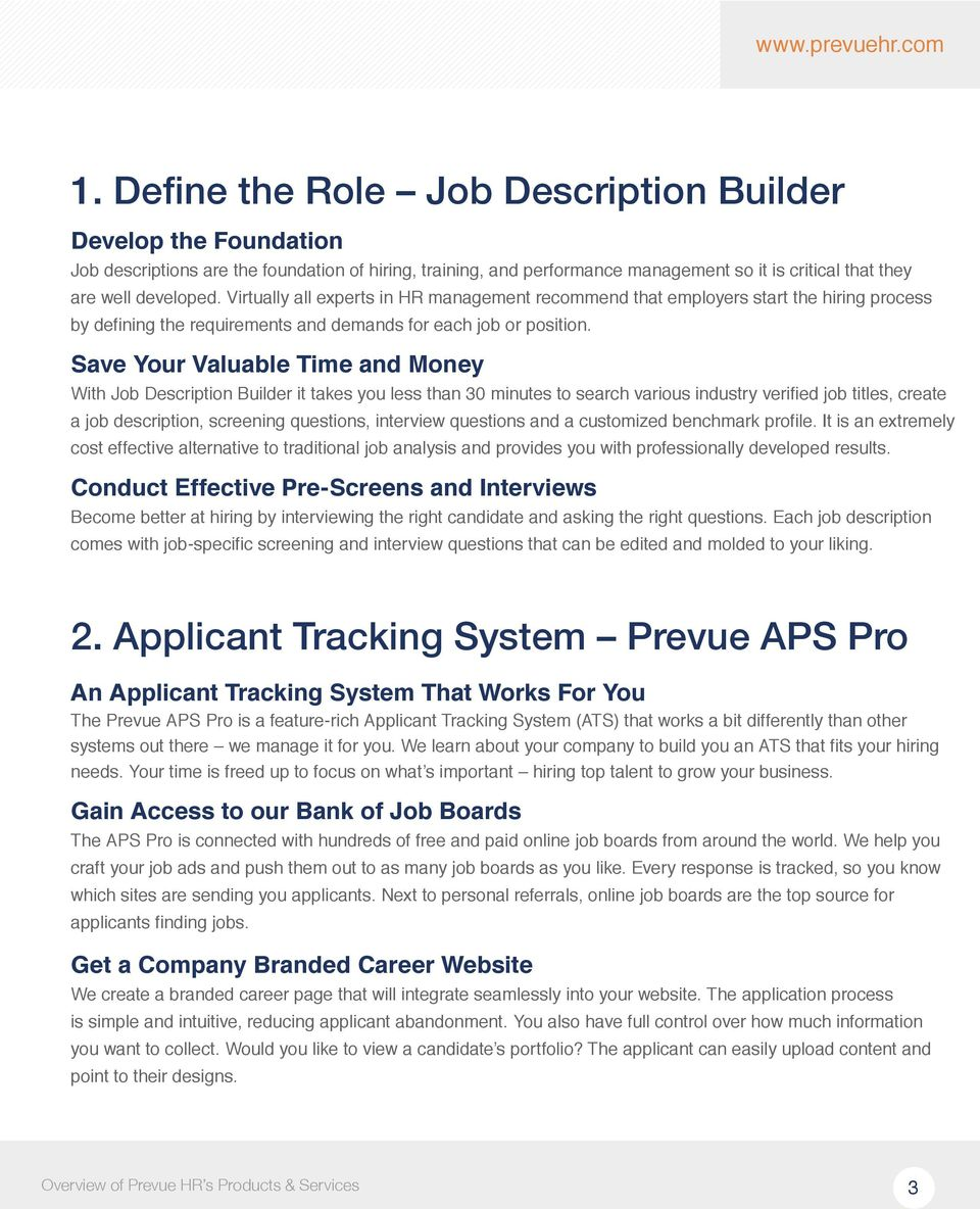 Save Your Valuable Time and Money With Job Description Builder it takes you less than 30 minutes to search various industry verified job titles, create a job description, screening questions,
