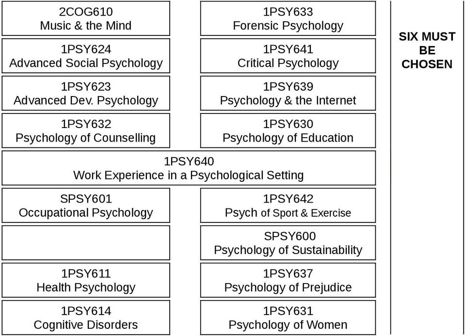 Internet 1PSY630 Psychology of Education SIX MUST BE CHOSEN 1PSY640 Work Experience in a Psychological Setting SPSY601 Occupational