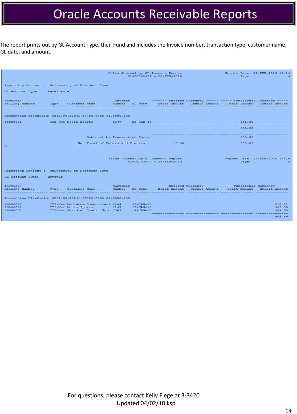 Invoice number, transaction type,