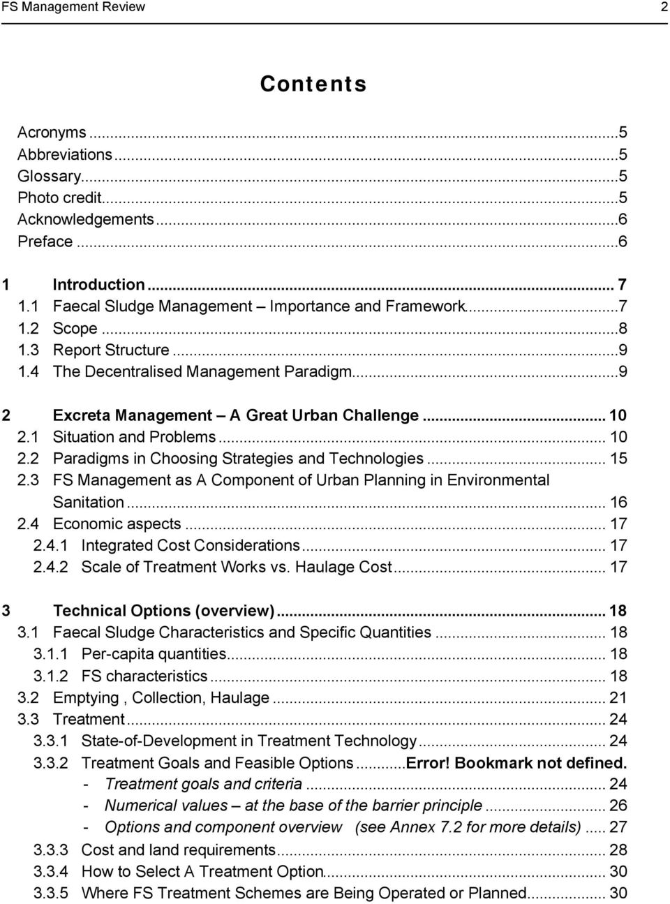 .. 15 2.3 FS Management as A Component of Urban Planning in Environmental Sanitation... 16 2.4 Economic aspects... 17 2.4.1 Integrated Cost Considerations... 17 2.4.2 Scale of Treatment Works vs.