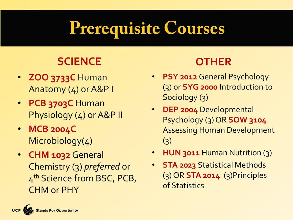 General Psychology (3) or SYG 2000 Introduction to Sociology (3) DEP 2004 Developmental Psychology (3) OR SOW 3104