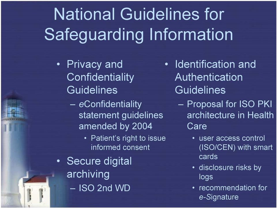 digital archiving ISO 2nd WD Identification and Authentication Guidelines Proposal for ISO PKI