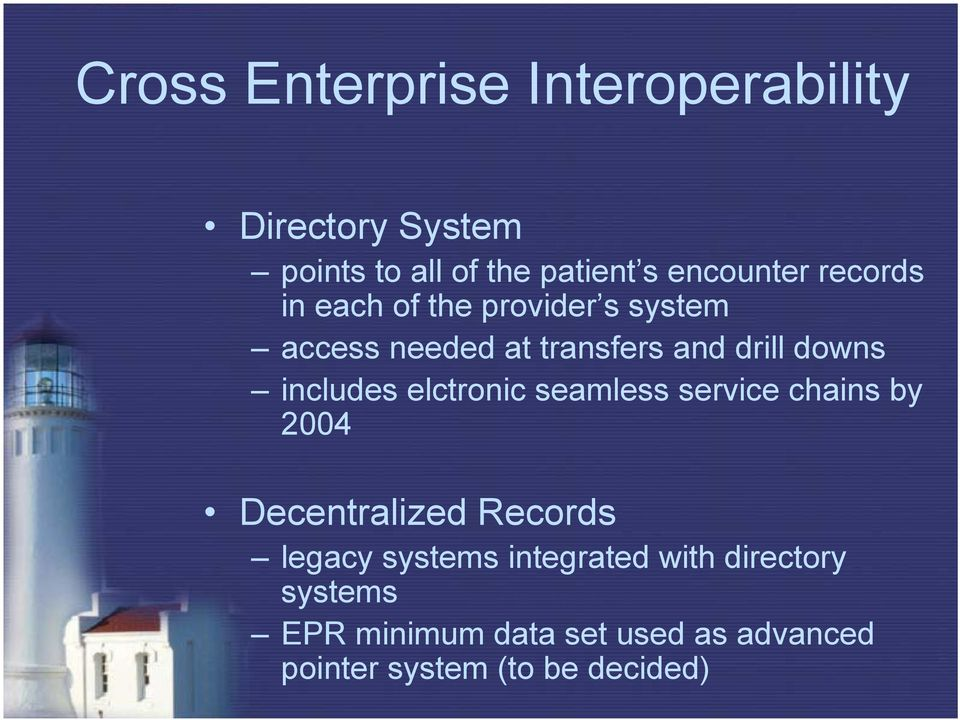 includes elctronic seamless service chains by 2004 Decentralized Records legacy systems
