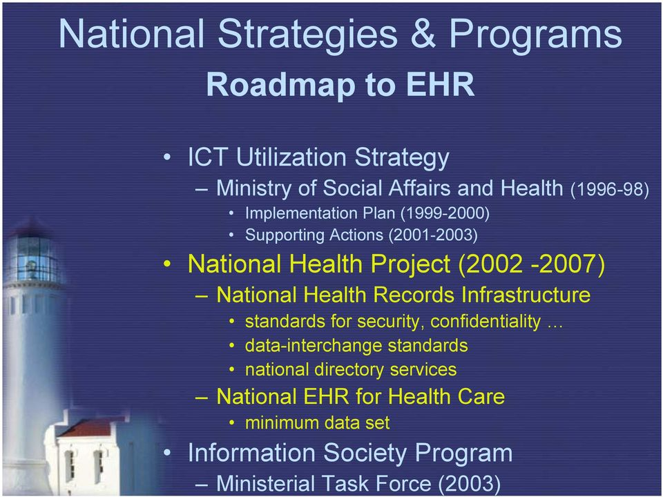 standards for security, confidentiality data-interchange standards national directory services National EHR for