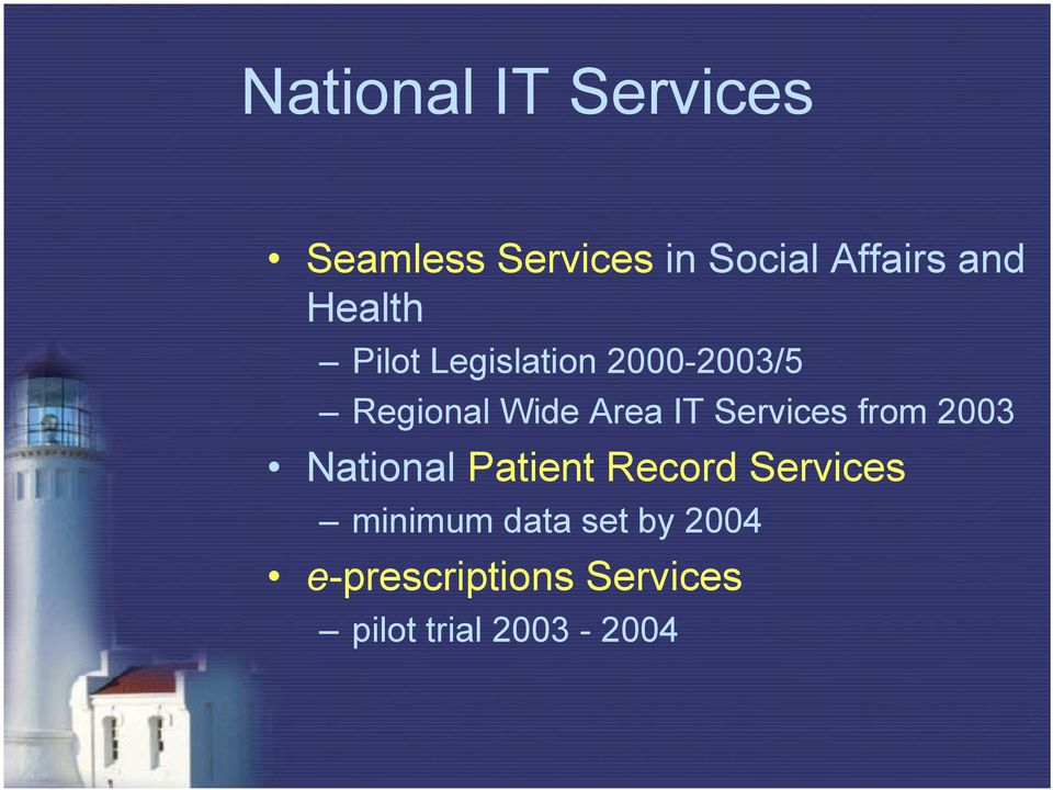 Services from 2003 National Patient Record Services minimum