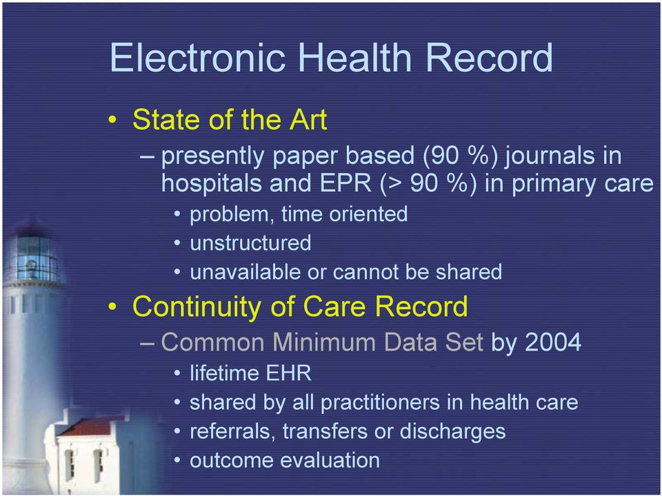 or cannot be shared Continuity of Care Record Common Minimum Data Set by 2004 lifetime EHR