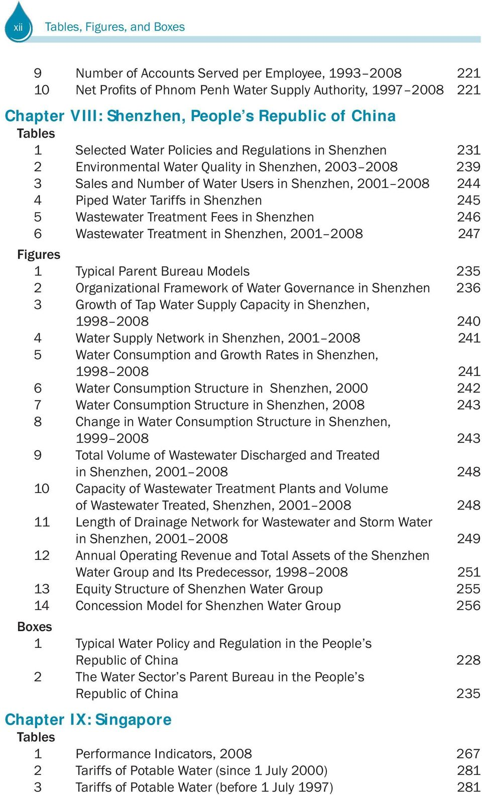 246 6 Wastewater Treatment in Shenzhen, 2001 2008 247 Figures 1 Typical Parent Bureau Models 235 2 Organizational Framework of Water Governance in Shenzhen 236 3 Growth of Tap Water Supply Capacity