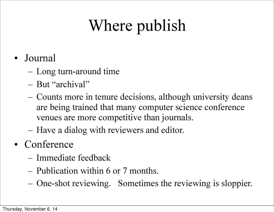more competitive than journals. Have a dialog with reviewers and editor.