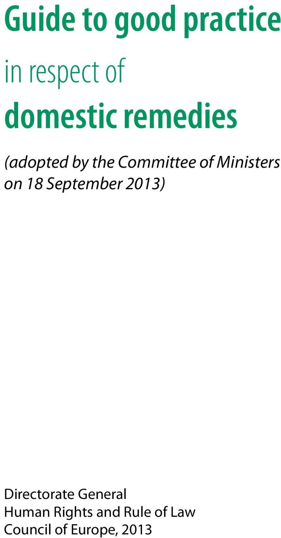 Ministers on 18 September 2013) Directorate