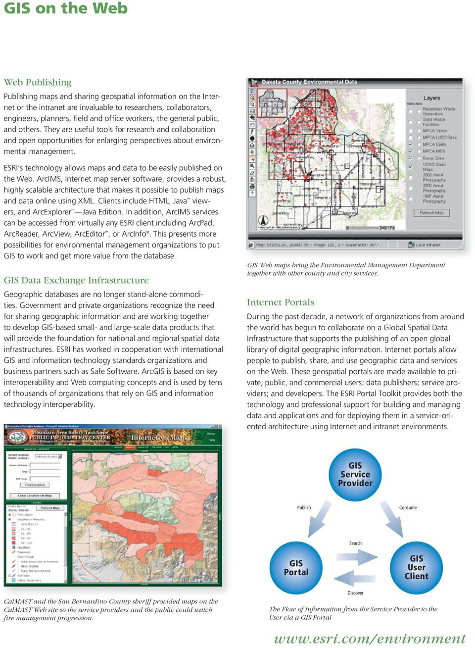 ESRI s technology allows maps and data to be easily published on the Web.