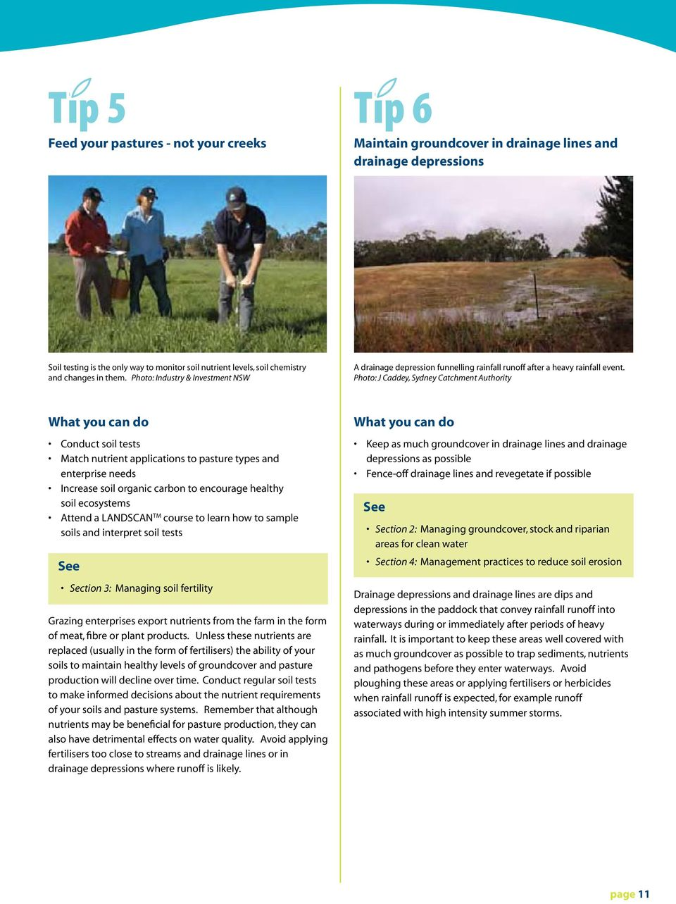 Photo: J Caddey, Sydney Catchment Authority What you can do Conduct soil tests Match nutrient applications to pasture types and enterprise needs Increase soil organic carbon to encourage healthy soil