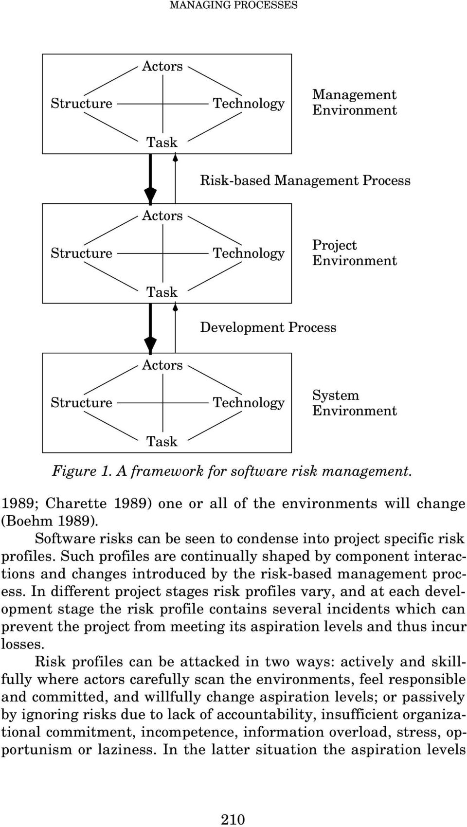 Software risks can be seen to condense into project specific risk profiles. Such profiles are continually shaped by component interactions and changes introduced by the risk-based management process.