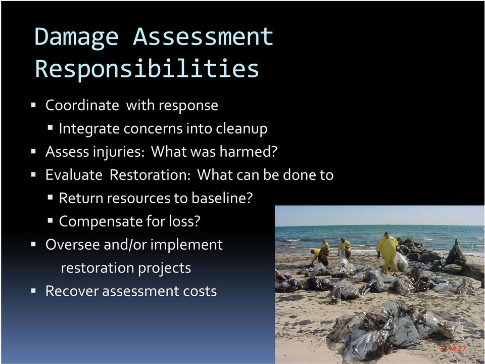 Evaluate Restoration: What can be done to Return resources to baseline?