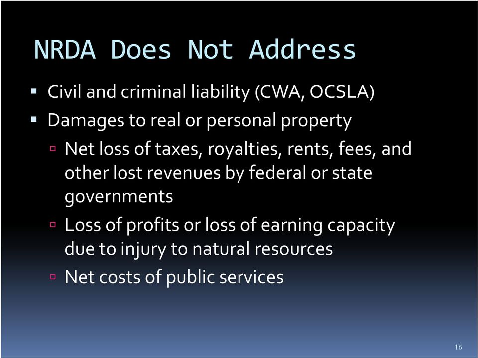 other lost revenues by federal or state governments Loss of profits or loss